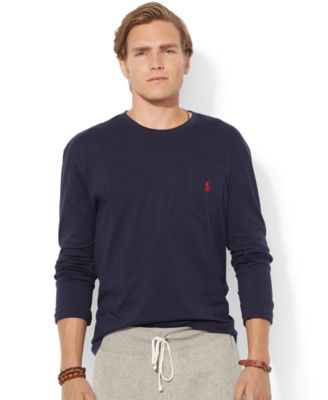 Polo Ralph Lauren Classic-Fit Long-Sleeved Jersey Pocket Crew-Neck T-