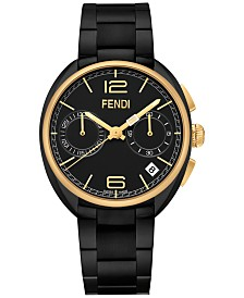 Fendi Timepieces Unisex Chronograph Swiss Momento Black Stainless Steel Bracelet Watch 40mm F219111000