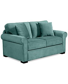 remo ii fabric apartment sofa with 2 toss pillows custom colors apartment scale furniture