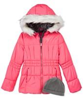 London Fog 2-Pc. Heavyweight Puffer Jacket & Fleece Hat Set (Multiple Colors)