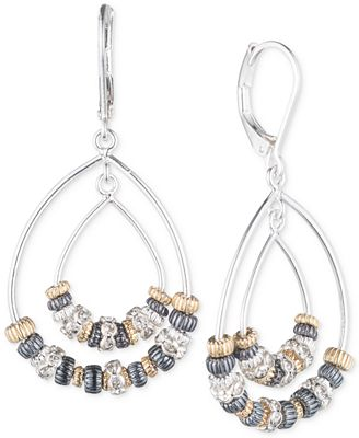 Nine West Tri-Tone Orbital Teardrop Earrings