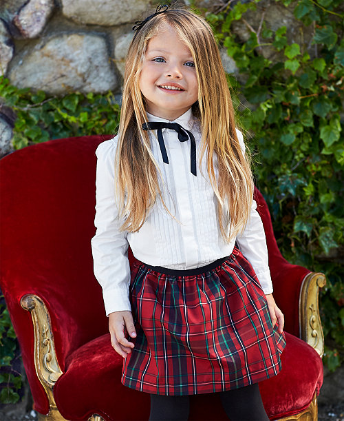 6db4852c0f Ralph Lauren Long-Sleeve Shirt & Plaid Taffeta Skirt, Toddler ...