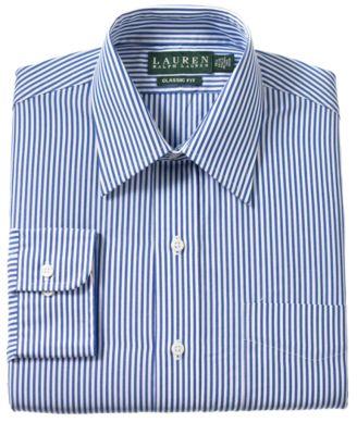 Lauren Ralph Lauren Non-Iron Blue Bengal Stripe Dress Shirt