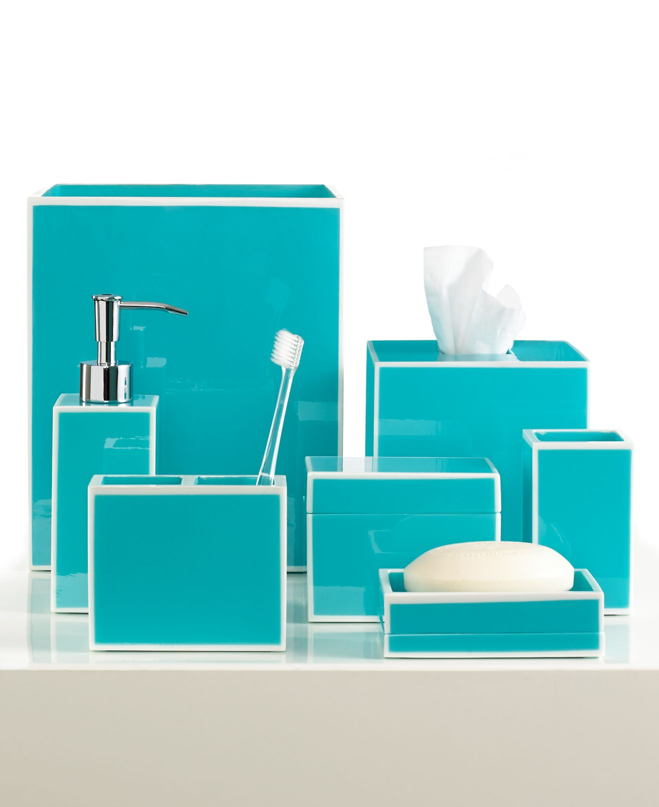 green and blue bathroom accessories