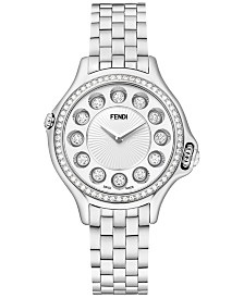 Fendi Timepieces Women's Swiss Crazy Carats Diamond (1/2 c.t t.w.) and Multi-Stone Accent Stainless Steel Bracelet Watch 33mm F107024000B0T05