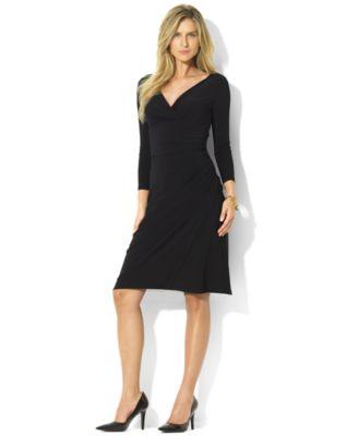 Lauren Ralph Lauren Long-Sleeve Faux-Wrap Sheath Dress