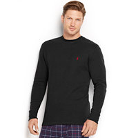 Polo Ralph Lauren Men's Waffle-Knit Crewneck Thermal Shirt (Polo Black)