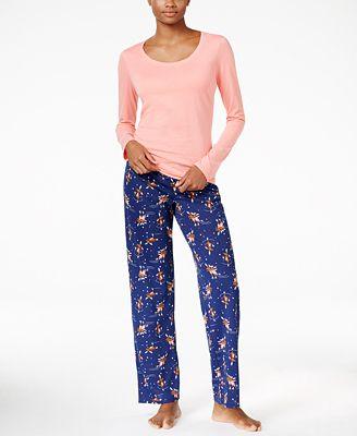 Jenni by Jennifer Moore Knit Top and Printed Pants Pajama Set, Only at Macy's
