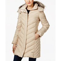 Kenneth Cole Faux-Fur-Trim Chevron Quilted Down Womens Coat (Multiple Colors)