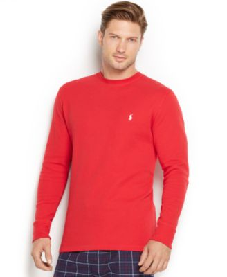 Polo Ralph Lauren Men\u0026#39;s Solid Waffle-Knit Crew-Neck Thermal Top
