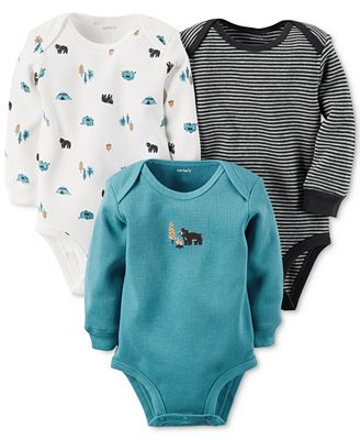 Carter's Baby Boys' 3-Pk. Long-Sleeve Wild Thermal Bodysuits