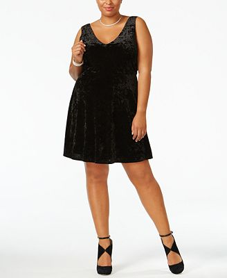 Soprano Trendy Plus Size Velvet A-Line Dress