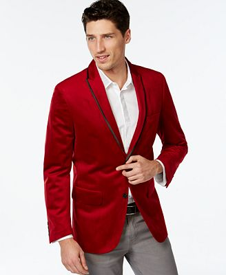 Red Velvet Mens Blazer - Trendy Clothes