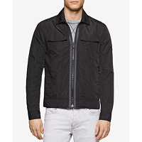 Calvin Klein Jeans Zip Front Trucker Men's Jacket (Black)