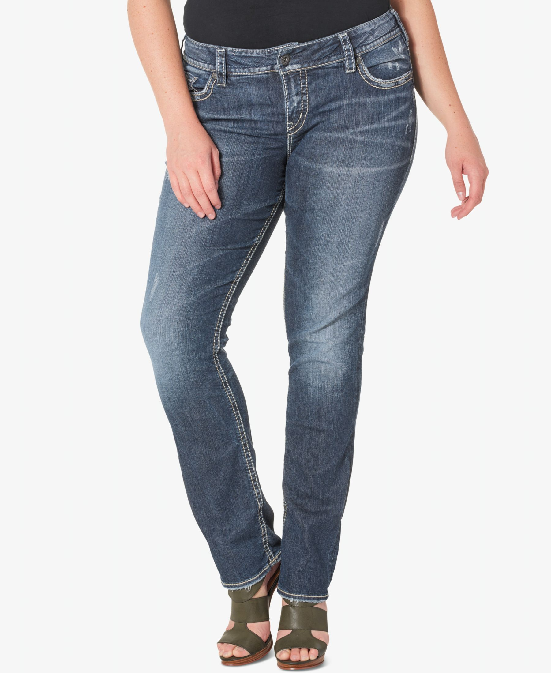 Silver Jeans Plus Size Suki Medium Wash Straight-Leg Jeans free ...