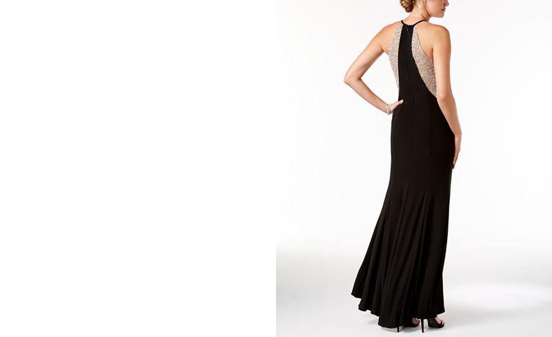 Xscape Caviar-Beaded Illusion Gown - Dresses - Women - Macy\'s
