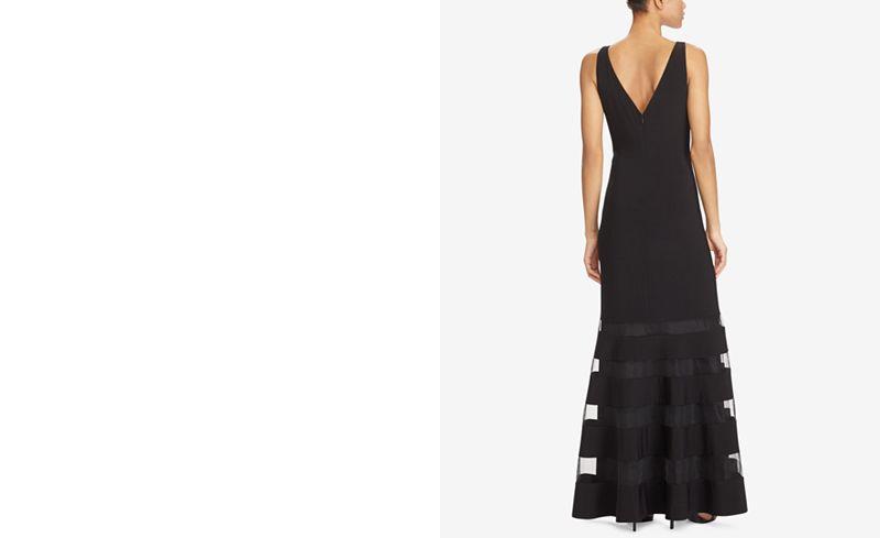 Lauren Ralph Lauren Tulle-Panel Jersey Gown - Dresses - Women - Macy\'s