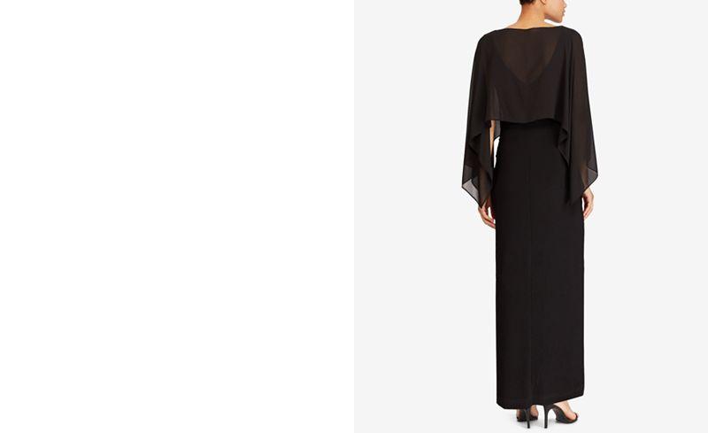 Lauren Ralph Lauren Crepe-Overlay Gown - Dresses - Women - Macy\'s