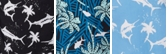 Dark Turquoise Fish Palms Print
