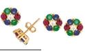 Macy's Multi-Gemstone Flower Stud Earrings (1-1/5 ct. t.w.) in 14k Gold