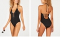 Bar III Nailhead Embellished Plunging Strappy One-Piece Swimsuit, Created for Macy's