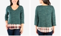 NY Collection Petite Spacedye Layered Look Top