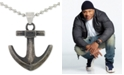 """LEGACY for MEN by Simone I. Smith Anchor 24"""" Pendant Necklace in Stainless Steel & Black Ion-Plate"""