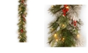 National Tree Company 9' Feel Real® Wintry Berry Collection Garlands with Big Pine Cones, Red Berries & Snowy Bristle with 70 Clear Lights