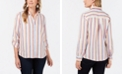 Charter Club Petite Linen Striped Utility Shirt, Created for Macy's