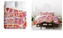 Deny Designs Holli Zollinger Paris Map Pink Queen Duvet Set