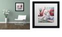 "Trademark Global Jenny Newland 'White Poodle' Matted Framed Art, 16"" x 16"""