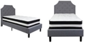 Flash Furniture Brighton Twin Size Tufted Upholstered Platform Bed In Light Gray Fabric With Pocket Spring Mattress