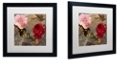 """Trademark Global Color Bakery 'Bird And Roses' Matted Framed Art, 16"""" x 16"""""""