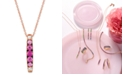 """Le Vian Strawberry Layer Cake™ Pink Sapphire (1/2 ct. t.w.) & White Sapphire (1/10 ct. t.w.) 18"""" Pendant Necklace in 14k Rose Gold"""