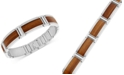Macy's Stainless Steel and Willow Wood Inlay Bracelet