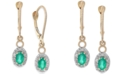 Macy's Emerald (5/8 ct. t.w.) & Diamond (1/5 ct. t.w.) Drop Earrings in 14k Gold