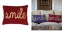 """THRO """"Smile"""" Sequin Script Faux Linen Pillow, 14"""" x 18"""""""