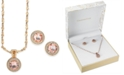 Charter Club Rose Gold-Tone Crystal Stud Earrings & Pendant Necklace Set, Created for Macy's