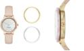 kate spade new york Women's Scallop Beige Leather Strap Watch Box Set 34mm