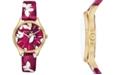 Michael Kors Women's Lexington Pink Camo Butterfly Leather Strap Watch 36mm