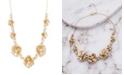 Catherine Malandrino Women's Flower Style White Rhinestone Yellow Gold-Tone Cluster Necklace