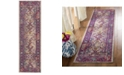 "Safavieh Crystal Light Blue and Fuchsia 2'2"" x 7' Runner Area Rug"