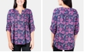 NY Collection Floral-Print Pleated Roll-Tab Sleeve Top