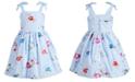 Pink & Violet Toddler Girls Striped Embroidered Dress