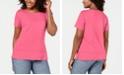 Karen Scott Button-Hem Scoop-Neck Top, Created for Macy's
