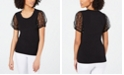 INC International Concepts I.N.C. Embellished Mesh-Sleeve T-Shirt, Created for Macy's