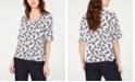 Nine West Pineapple-Print Ruffled-Cuff Top