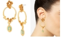 """Steve Madden Gold-Tone Religious Pendant Floral Hoop Extra Large 2-3/4"""" Drop Earrings"""
