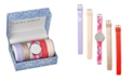 Laura Ashley Silver Slidethrough Interchangeable Sleek Dial Floral Straps Set Watch