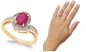 Macy's Ruby (1-1/2 ct. t.w.) & Diamond (1/6 ct. t.w.) Swirl Ring in 14k Gold